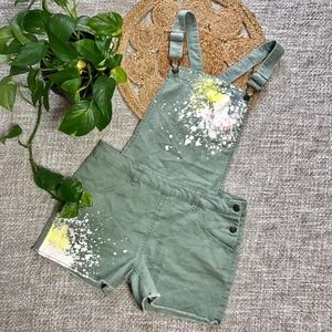 Cat & Jack Olive Denim Paint Splatter Overalls XL